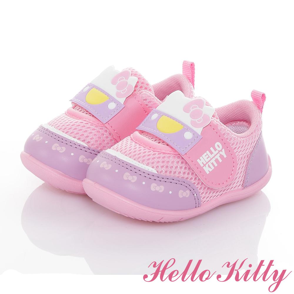HelloKitty 輕量透氣抗菌防臭休閒學步童鞋-紫粉