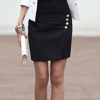 【N.C21】立體金釦壓摺及膝窄裙 (共四色)