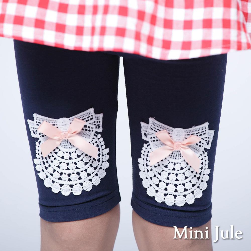 Mini Jule-內搭褲 花圈蕾絲蝴蝶結鬆緊內搭褲(深藍)