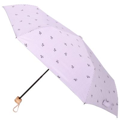 2mm 銀膠抗UV 蝴蝶結條紋輕量手開傘 (紫色)