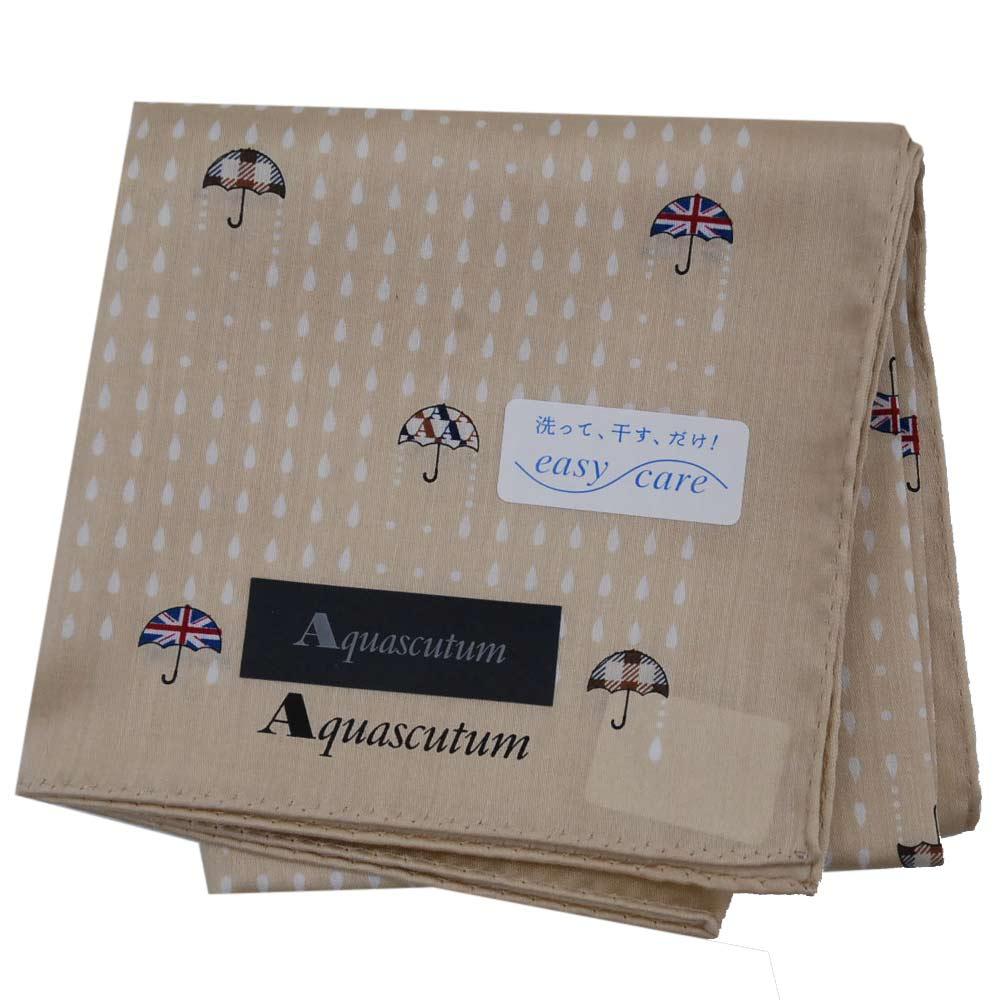 Aquascutum 繽紛圖騰品牌字母LOGO優雅帕領巾(駝色系)
