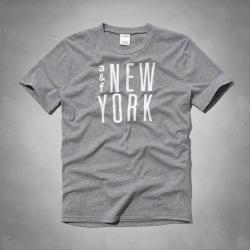 A&F KIDS(16)巧繡紐約短T恤(灰)