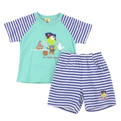 愛的世界 MYBABY 純棉海盜印圖短袖套裝/6個月~4歲