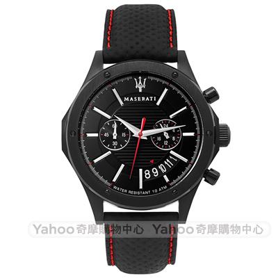 MASERATI 瑪莎拉蒂CIRCUITO經典雙環計時手錶-黑/44mm