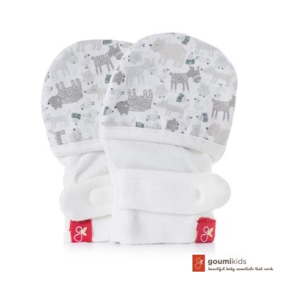美國 GOUMIKIDS 有機棉嬰兒手套 (叢林動物-淺灰)