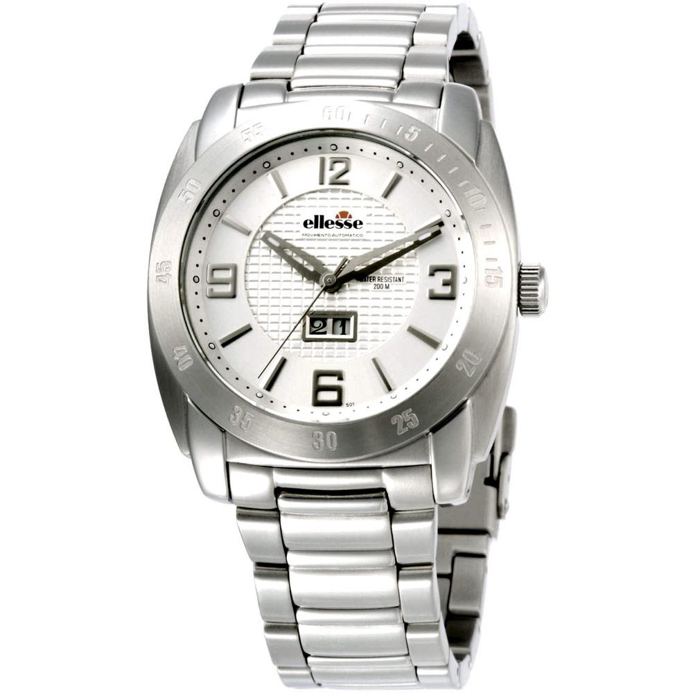【ellesse】立體格紋時尚機械錶(白)