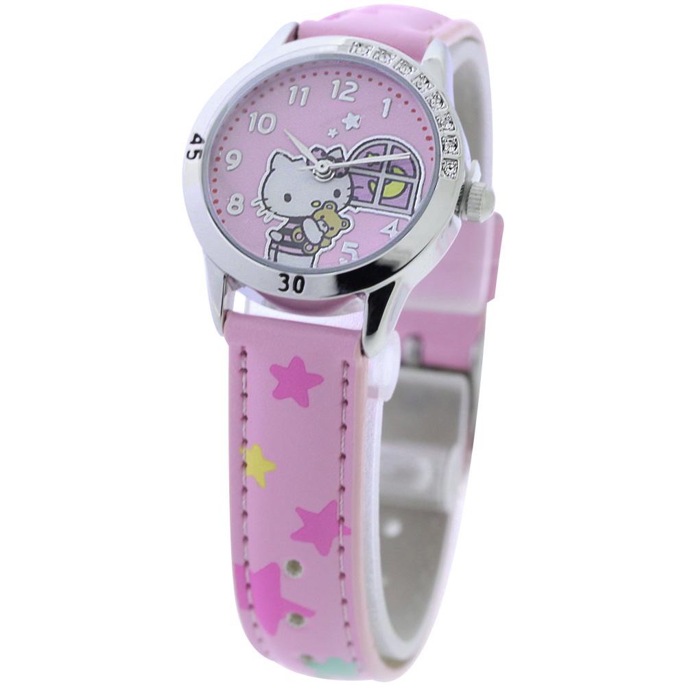 Hello Kitty 午夜冒險晶鑽腕錶-粉紅/28mm