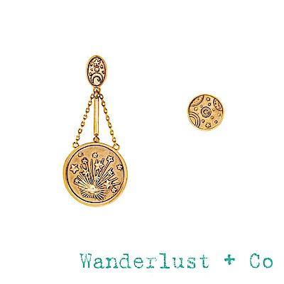 Wanderlust+Co 澳洲品牌 閃耀星系垂墜式耳環 古典銀河星球圓形耳環 不對稱設計