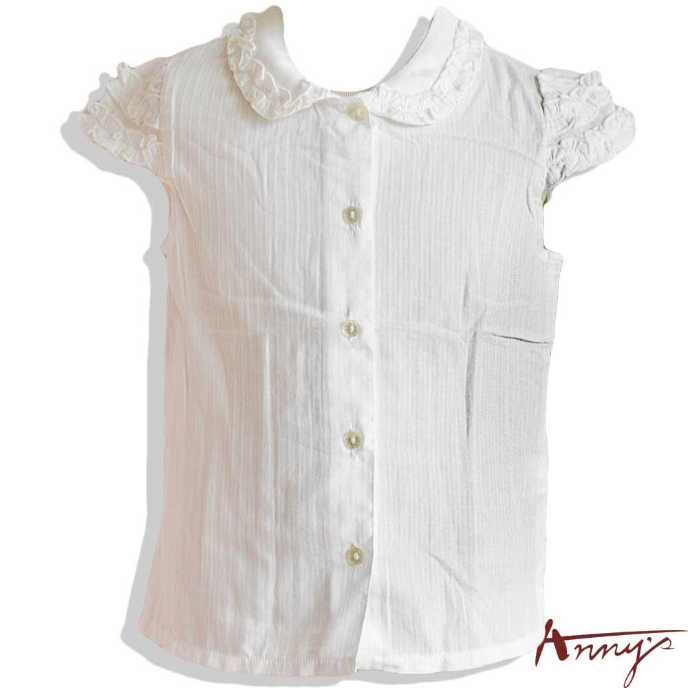 甜美荷葉公主袖線條壓紋短袖上衣*9162白