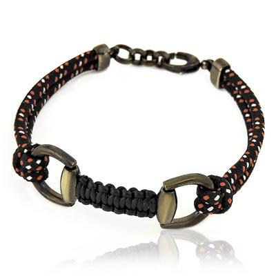GUCCI 黑色馬蹄環釦純銀墜飾手鍊/手環