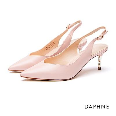 達芙妮DAPHNE 跟鞋-繞踝繫帶螺旋金屬高跟鞋-粉紅