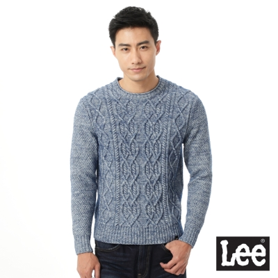 Lee 圓領針織毛衣/RG-男款-淺藍