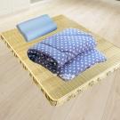 米夢家居 台灣製造-冬夏兩用竹青純棉單人床墊+記憶枕+防蹣抗菌暖暖被(藍)外宿熱賣三件組