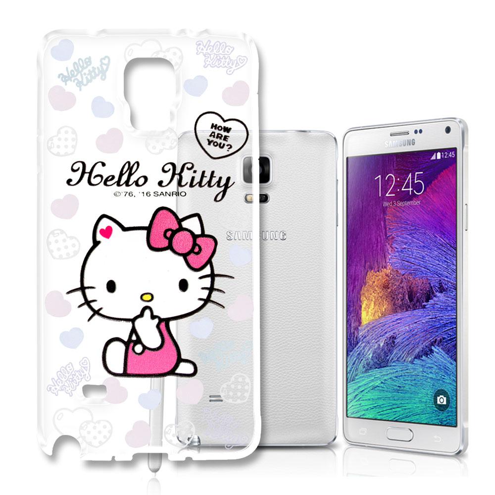 Hello Kitty 三星 Galaxy Note4 浮雕彩繪透明軟殼(心愛凱蒂)