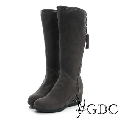 GDC個性-麂皮側流蘇楔型底真皮長靴-槍灰色