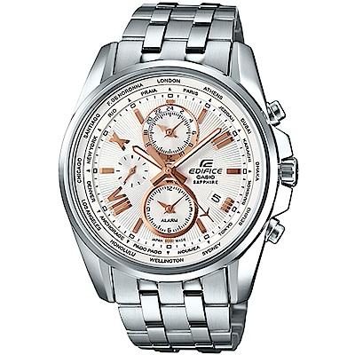 EDIFICE優雅迷人不鏽鋼腕錶-玫瑰金指針(EFB-301JD-7A9)金針44.5mm