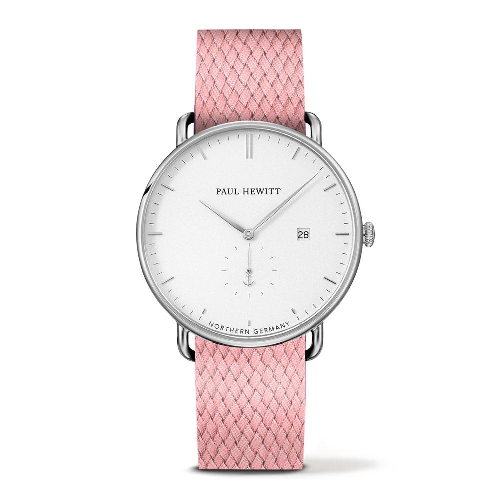福利品-PAUL HEWITT Atlantic Line粉色尼龍錶帶 白x玫瑰金手錶42mm