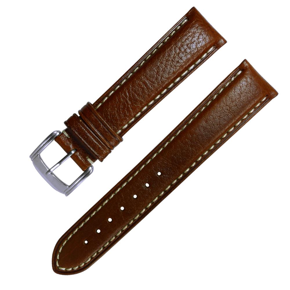 Watchband / 各品牌通用加長型精緻牛皮錶帶-咖啡色/20.22mm