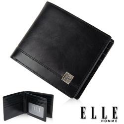 ELLE HOMME -精品短夾  雙層  鈔票多層/證件/名片格層設計-黑