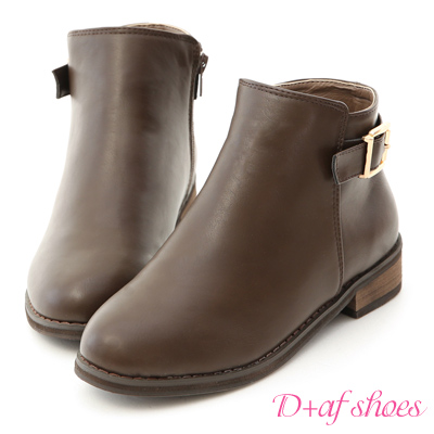 D+AF 百搭焦點.質感方金釦內增高短靴*咖