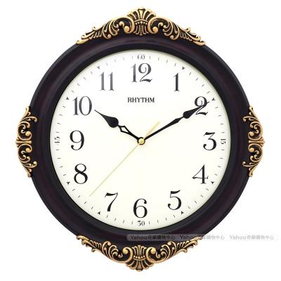 RHYTHM日本麗聲 歐式新古典雕花靜音掛鐘/35cm
