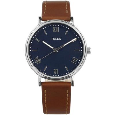 TIMEX 天美時 羅馬時標 夜光 真皮手錶-藍x咖啡 /41mm