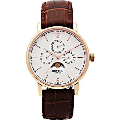 RHYTHM 日本麗聲 都會時尚日月相日期手錶-玫瑰金框x咖啡/43mm