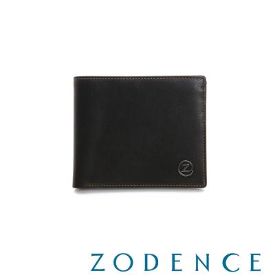ZODENCE-MAN-優質真皮系列率性兩折短夾-黑