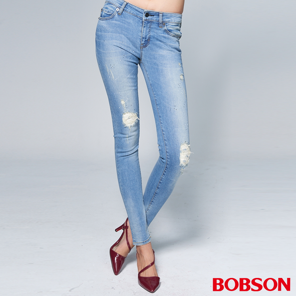 "BOBSON 女款1971""日本進口黑標""破口淺藍小直筒褲"
