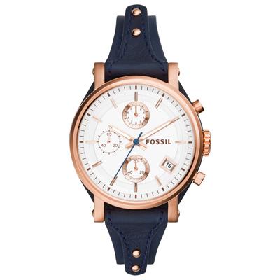 FOSSIL 輕快節奏計時女錶-玫瑰金框x深藍皮帶/38mm
