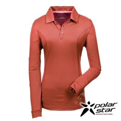 PolarStar 女 吸排長袖圓領衫 MIT 台灣製『暗橘』P17214
