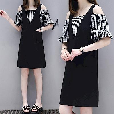 中大尺碼假兩件格子荷葉袖拼接露肩黑色大V背心洋裝XL~4L-Ballet Dolly