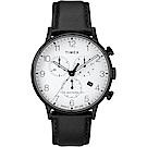 TIMEX 天美時 Waterbury系列 經典簡約三眼計時手錶-白/黑/40mm