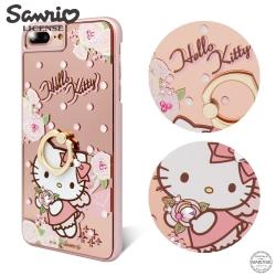三麗鷗 Kitty iPhone8/7/6s Plus 鏡面指環扣水晶手機殼-天使凱蒂