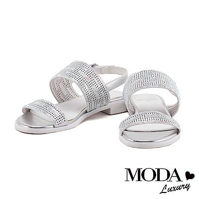 涼鞋 MODA Luxury 時尚簡約沖孔設計一字羊皮粗低跟涼鞋-銀