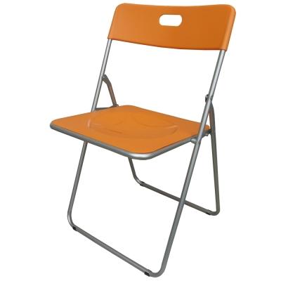 Dr. DIY 高背折疊椅/餐椅/休閒椅/摺疊椅/戶外椅(橘色)-4入/組