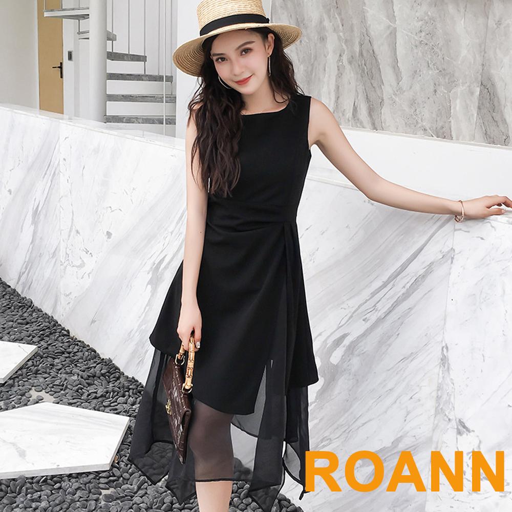 圓領拼接透膚雪紡洋裝 (黑色)-ROANN