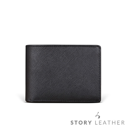 STORYLEATHER - 牛皮短夾 90017-A30 十字紋黑現貨