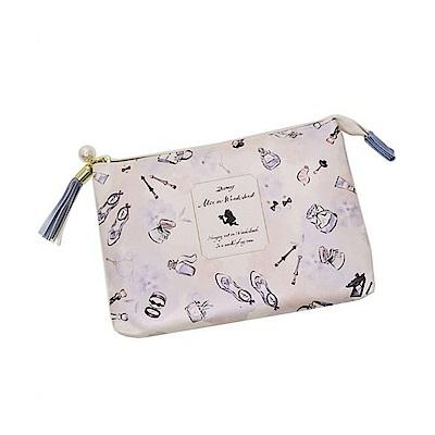 KAMIO  迪士尼公主花繪彩妝系列珠光PU皮革雙層扁平化妝包(愛麗絲)