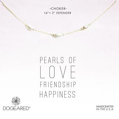Dogeared 三顆白色珍珠頸鍊 金色頸鍊 925純銀鑲14K金 附原廠盒