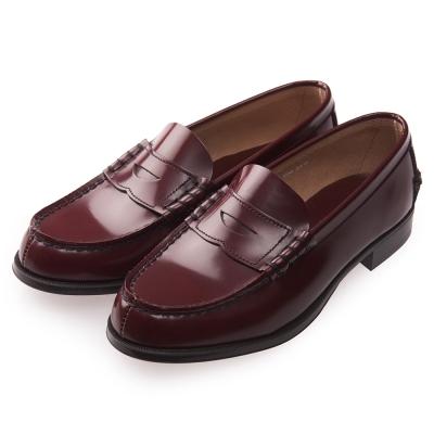 (女)日本 HARUTA 真皮平底素面皮鞋-酒紅色