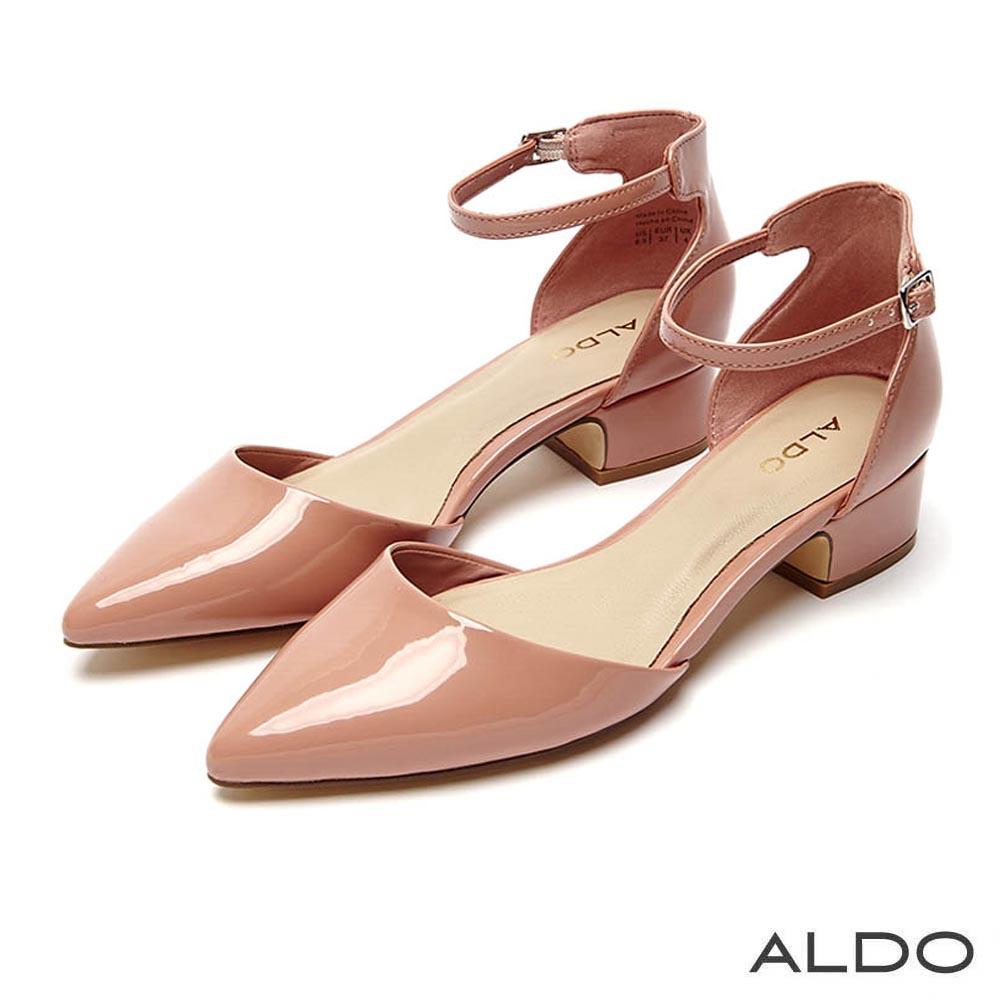 ALDO 原色尖頭佐金屬釦帶繫踝粗跟鞋~櫻花粉色
