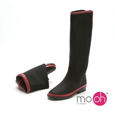 mo.oh 愛雨天-V口顯瘦拚色長筒可折疊雨鞋-黑紅色