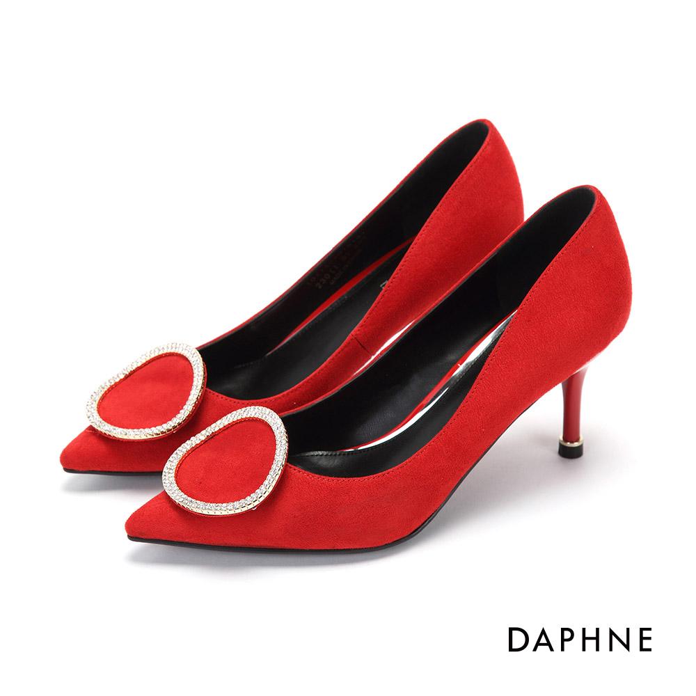 達芙妮DAPHNE 高跟鞋-弧形水鑽圓環絨面尖頭高跟鞋-紅