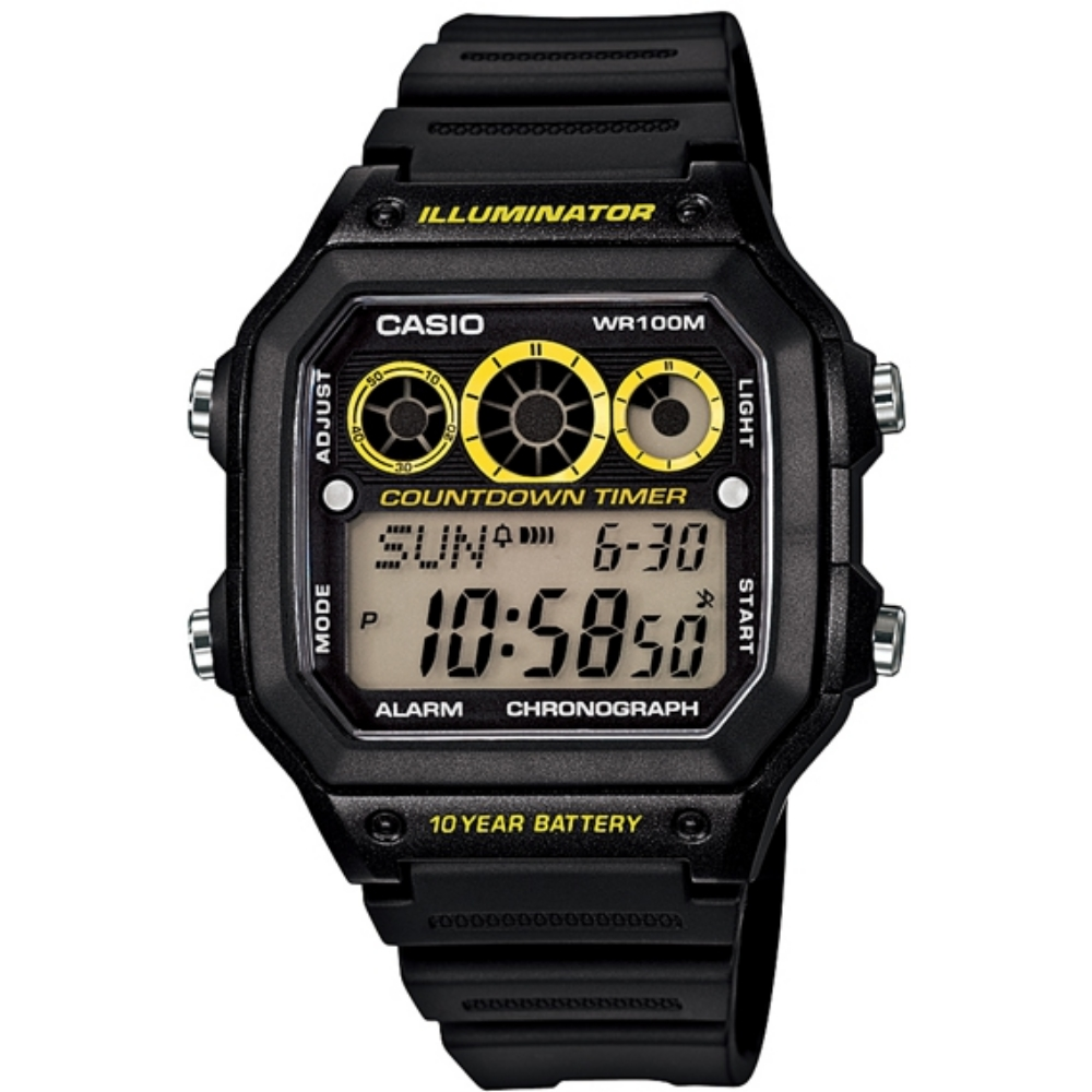 CASIO 雷神戰士個性運動電子錶(AE-1300WH-1A)-黑x亮黃圈/42.1mm