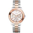 GUESS 極致美感三眼都會腕錶-鋼帶X銀玫瑰金/41mm