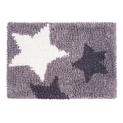 Yvonne-Collection法蘭絨閃亮方形地墊-淺灰