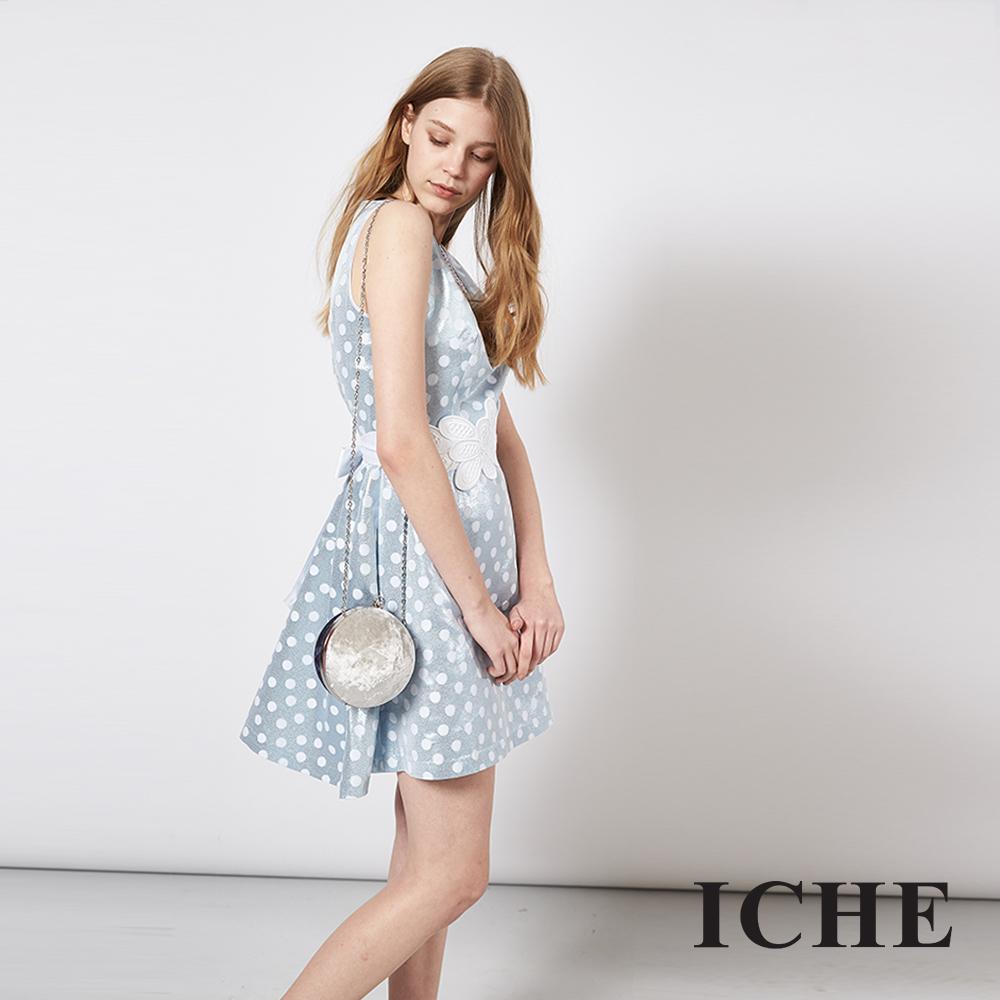 ICHE 衣哲 時尚波點印花雕花修身禮服洋裝