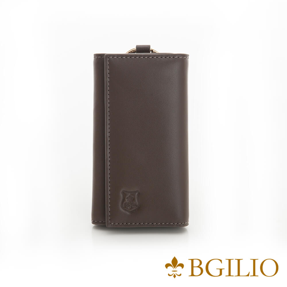 義大利BGilio-NAPPA軟牛皮中性鑰匙包-咖啡色-1605.310B-03
