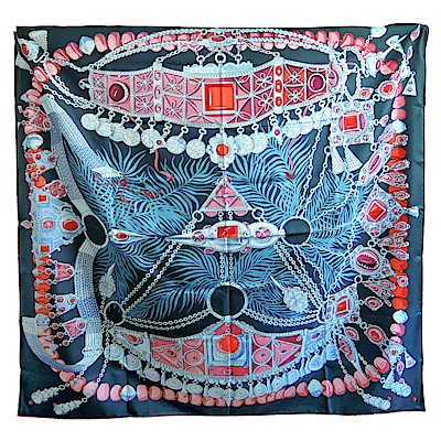 Hermes  Parures precieuses裝飾圖絲質騰披肩/方巾(黑藍)